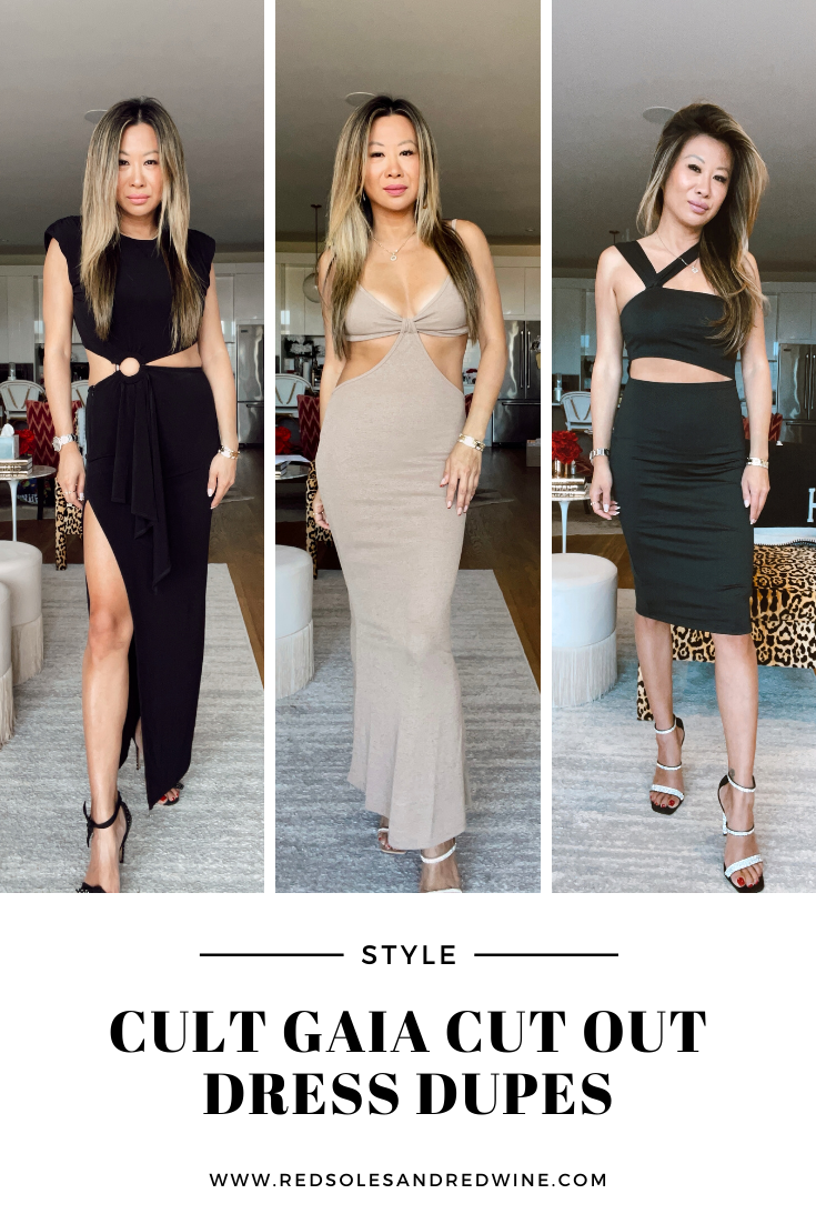 Cult Gaia Cut Out Dress Dupes, cult gaia dupes, cult gaia dress dupes, cut out dress dupes, cut out dress trend, cut out dresses, affordable cut out maxi dress, cut out midi dress, revolve cut out dress, shein cut out dress, what to wear to a wedding, wedding guest dresses, event dresses, vacation dresses, Red Soles and Red Wine, Jennifer Worman