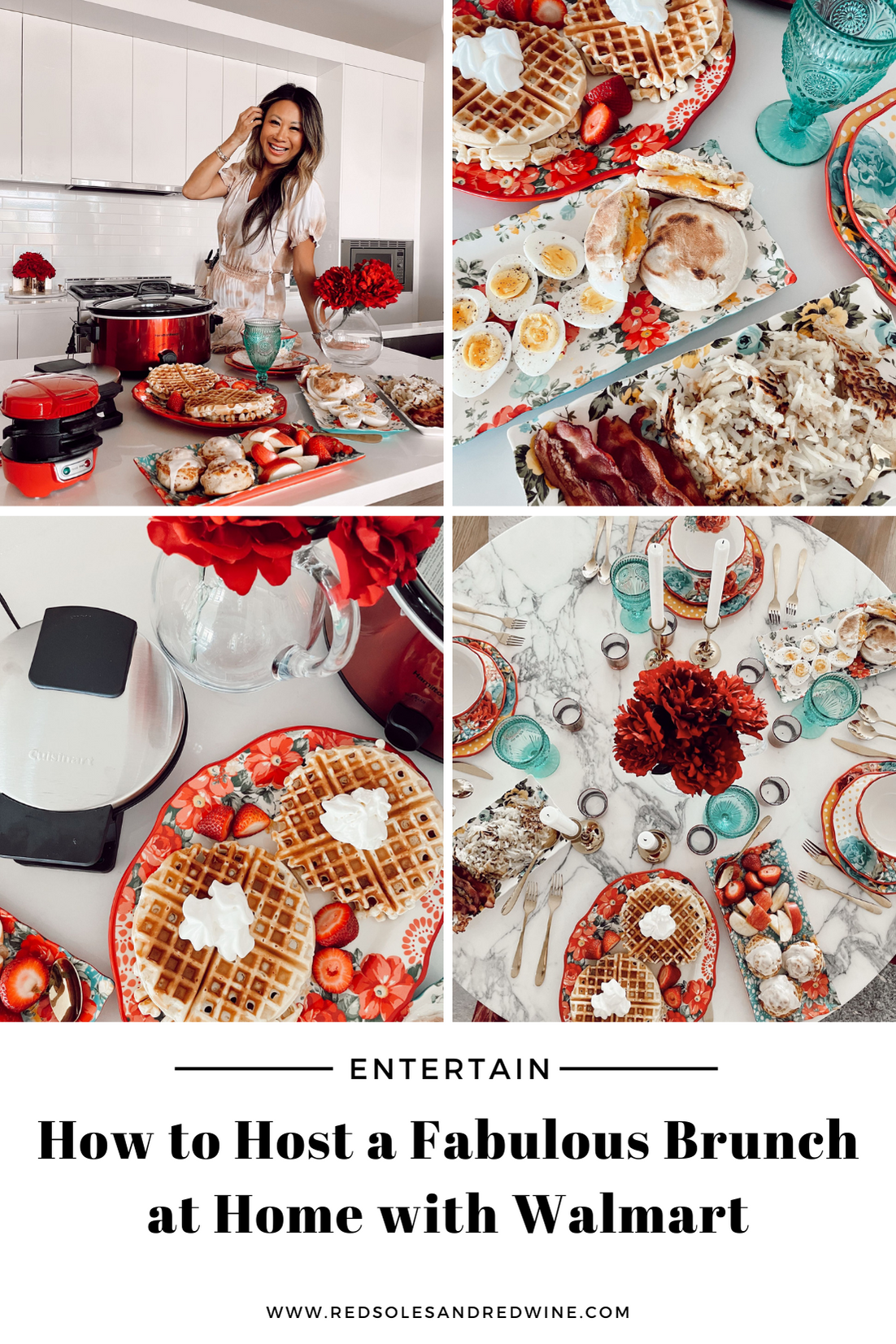 how to host an affordable brunch party, brunch party inspiration, how to host a fabulous brunch at home, pretty at home brunch set up, hosting at home with Walmart, brunch set up, brunch party ideas, glam brunch set up, glam breakfast set up, Walmart breakfast appliances, pretty kitchen serve wear, breakfast set up, Walmart cookware, Walmart cooking essentials, affordable cookware, Walmart home, Walmart kitchen appliances, Walmart tabletop finds, Pioneer Women Walmart, Walmart kitchen essentials, waffle bar ideas, waffle bar party, blue red and yellow tabletop, gold flatware, gold silverware table settings, Walmart review, Jen Worman, Red Soles and Red Wine