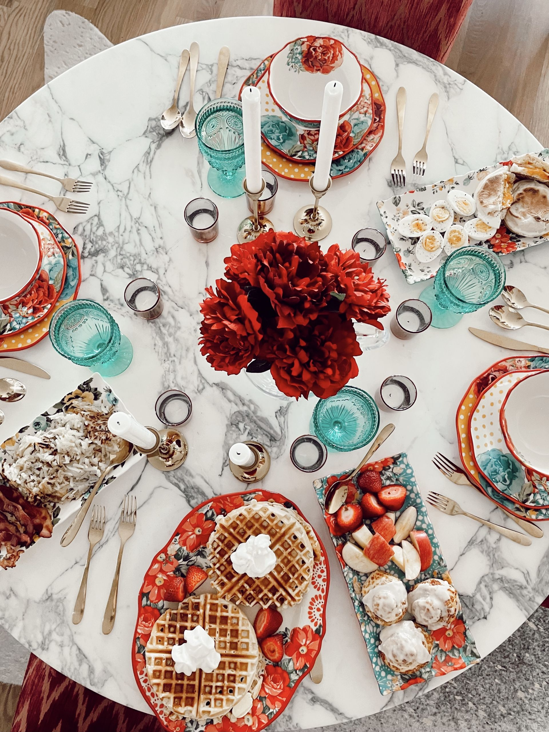 pretty kitchen serve wear, breakfast set up, how to host an affordable brunch party, pretty at home brunch set up, hosting at home with Walmart, brunch set up, brunch party ideas, glam brunch set up, glam breakfast set up, Walmart breakfast appliances, Walmart cookware, Walmart cooking essentials, affordable cookware, Walmart home, Walmart kitchen appliances, Walmart tabletop finds, Pioneer Women Walmart, Walmart kitchen essentials, waffle bar ideas, waffle bar party, blue red and yellow tabletop, gold flatware, gold silverware table settings