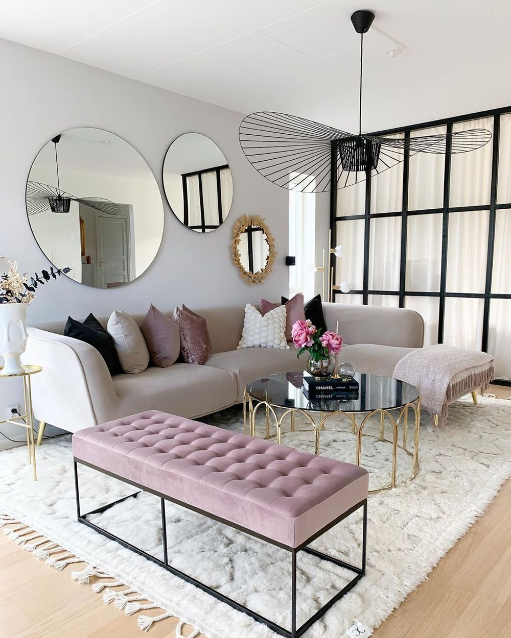 glam living room sectional sofa, glam living room inspiration, interior design, living room design, sectional sofa styling, sectional couch inspiration, Red Soles and Red Wine