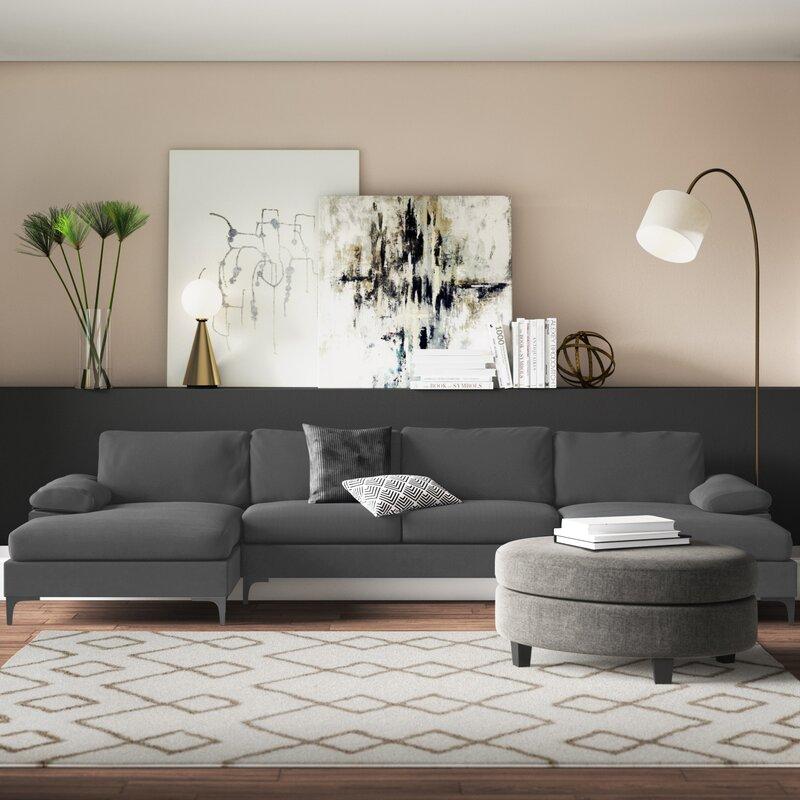 "Demarcus 130.5"" Wide Velvet Symmetrical Sofa & Chaise, velvet couch, affordable velvet sectional, velvet sectional couch, Best Sectionals Under $1000, sectional couch, sectional sofa under $1000, affordable sectional sofa, sectional sofa dupes, restoration hardware sectional sofa dupes, restoration hardware dupes, crate and barrel dupes, affordablecouches, livingroom furniture, affordable living room, family couch, family sectional, affordable family sectional sofa, interior design, living room design, Red Soles and Red Wine"