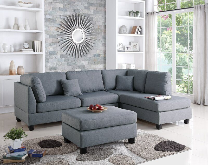 """Hemphill 104"""" Wide Reversible Sofa & Chaise with Ottoman, Best Sectionals Under $1000, sectional couch, sectional sofa under $1000, affordable sectional sofa, sectional sofa dupes, restoration hardware sectional sofa dupes, restoration hardware dupes, crate and barrel dupes, affordablecouches, livingroom furniture, affordable living room, family couch, family sectional, affordable family sectional sofa, interior design, living room design, Red Soles and Red Wine"""