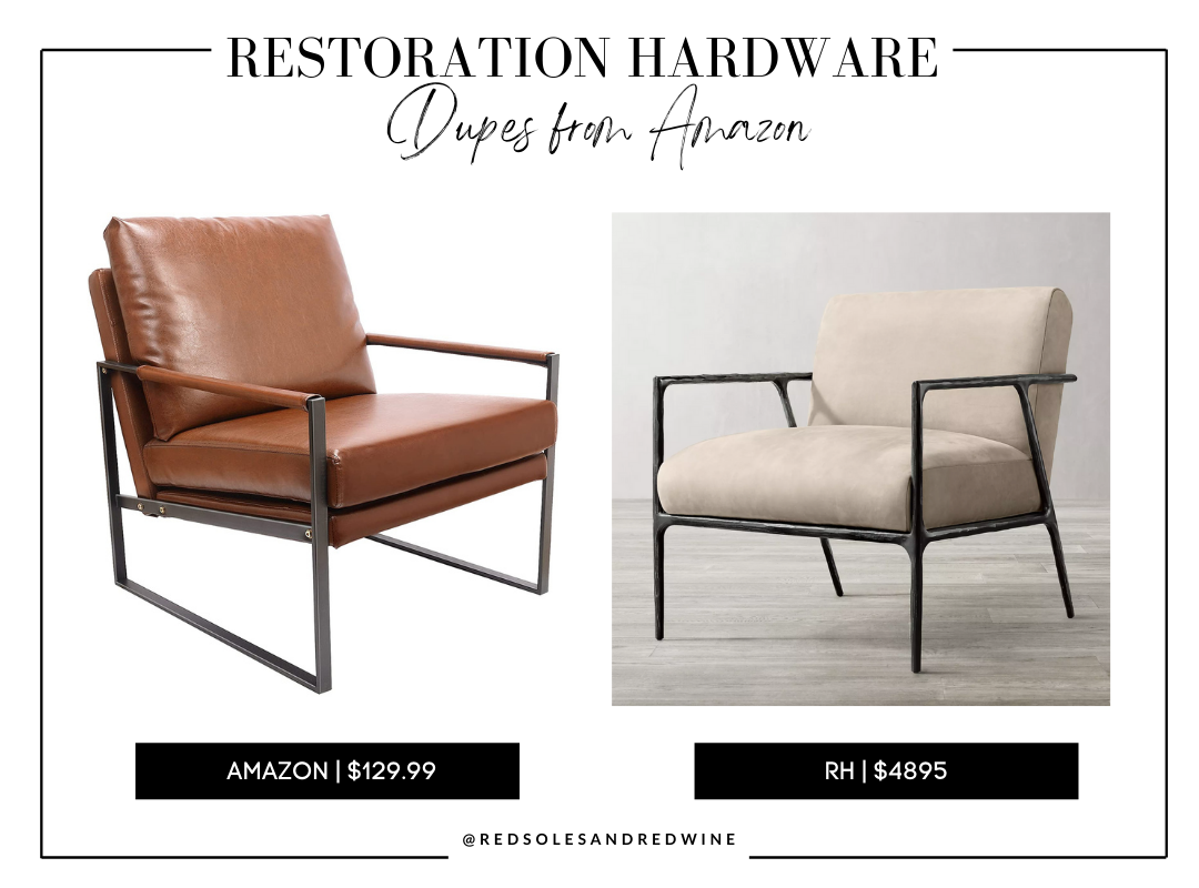 RH THADDEUS TRACK ARM LEATHER CHAIR dupe, Restoration Hardware chair dupes, RH Dupes, RH chair dupes, RH chair dupes from amazon, MID CENTURY MODERN ARM CHAIR