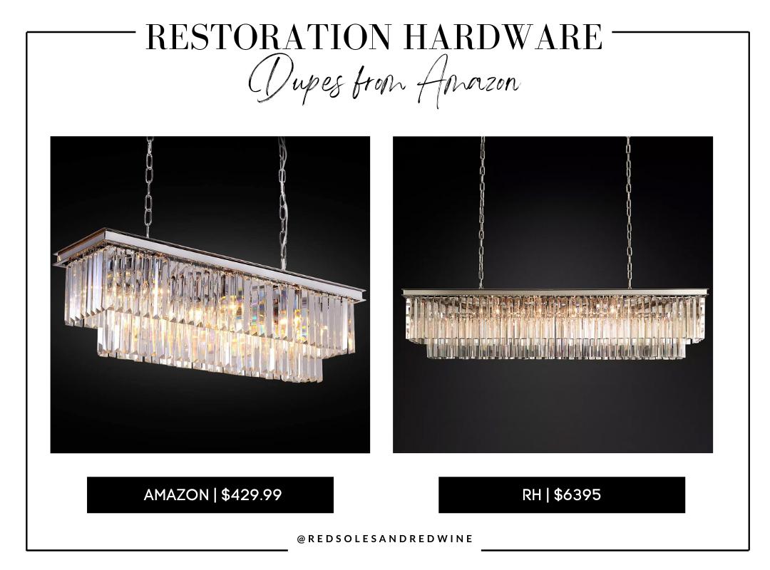 """RH 1920S ODEON RECTANGULAR CHANDELIER 59"""" dupe, RH chandelier dupe from amazon, RH chandelier dupes, RH crystal chandelier dupe, affordable crystal chandelier, amazon crystal chandelier"""