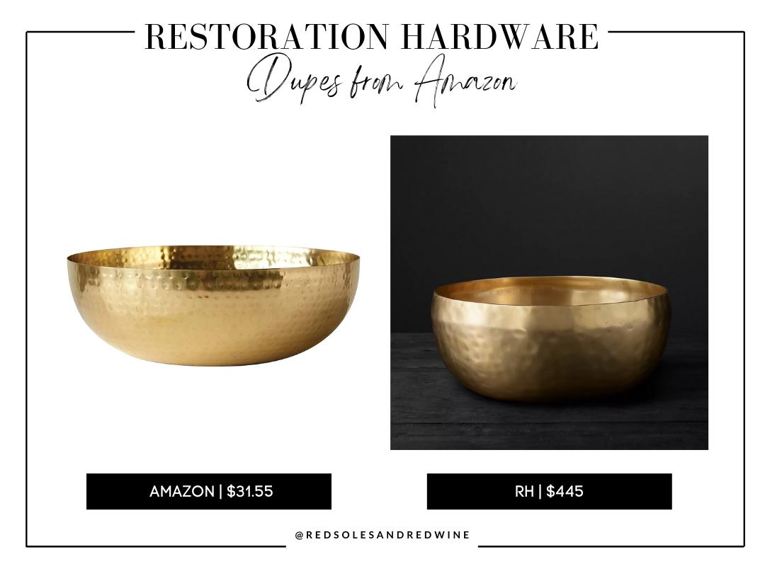 RH gold hammered bowl dupe, gold hammered bowl decor, gold hammered bowl from amazon, gold bowl, large gold bowl decor ideas, gold bowl decor inspiration