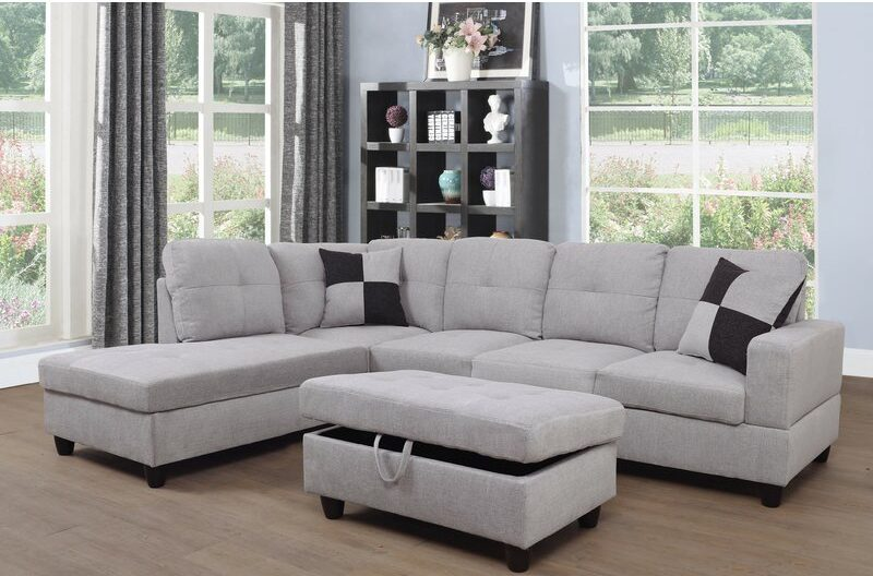 """Russ 103.5"""" Wide Linen Sectional with Ottoman, linen sectional sofa, Best Sectionals Under $1000, sectional couch, sectional sofa under $1000, affordable sectional sofa, sectional sofa dupes, restoration hardware sectional sofa dupes, restoration hardware dupes, crate and barrel dupes, affordablecouches, livingroom furniture, affordable living room, family couch, family sectional, affordable family sectional sofa, interior design, living room design, Red Soles and Red Wine"""