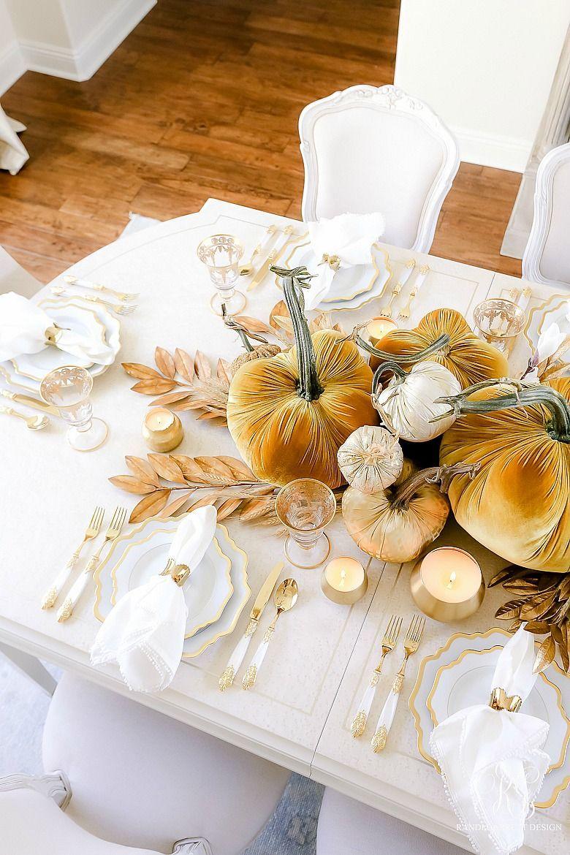 chic fall decor inspiration, fall decor ideas, pretty fall decor, glam fall decor inspiration, velvet pumpkins decor, velvet pumpkin tablescape, glam fall tablescape, glam gold fall table