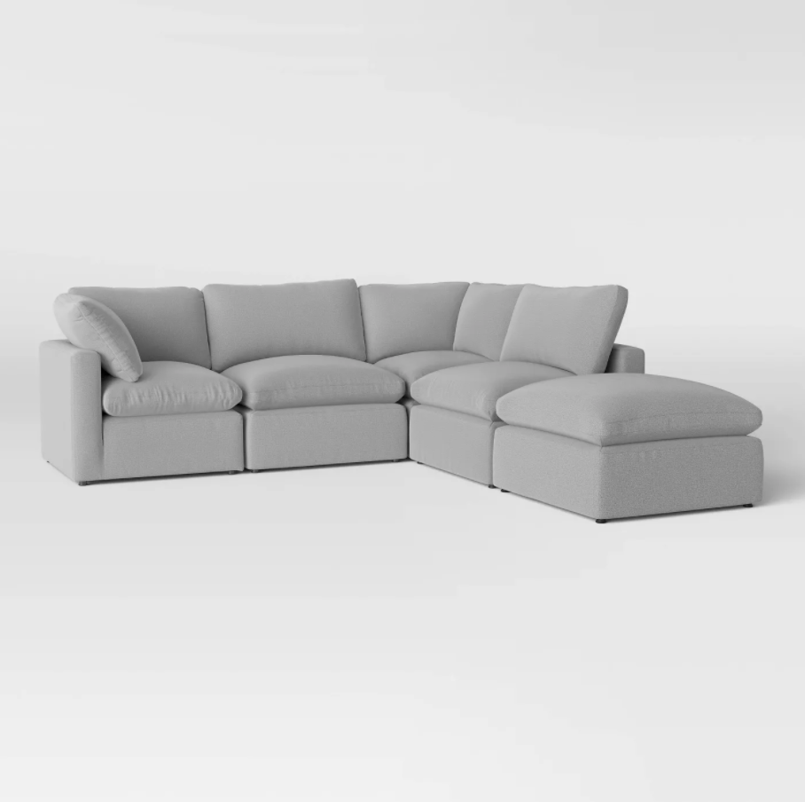 5pc Allandale Modular Sectional Sofa Set Gray - Project 62™, Dupes for the Restoration Hardware cloud couch, RH cloud couch dupes, affordable versions of the Restoration Hardware cloud couch, modular sofa dupes, restoration hardware cloud sofa, CLOUD MODULAR SOFA CHAISE SECTIONAL, restoration hardware dupes, affordable sectional sofas, Red Soles and Red Wine, Jennifer Worman
