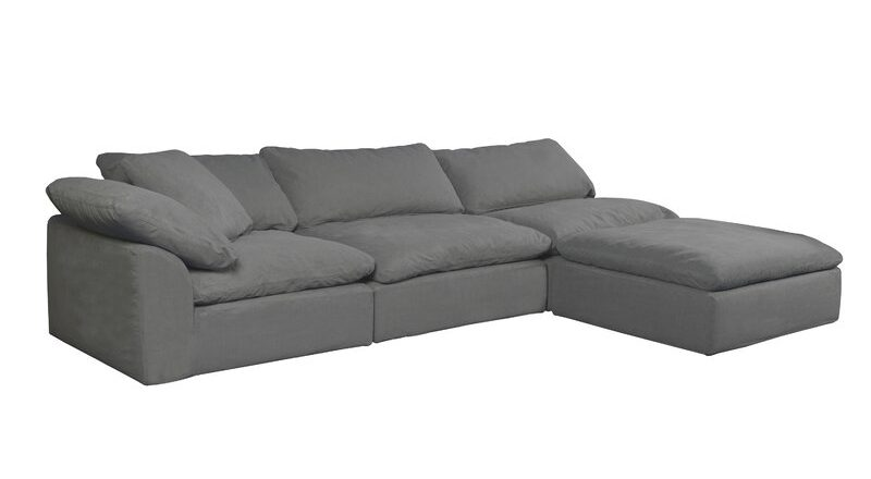 Mielke 44 Wide Modular Corner Sectional with Ottoman, Dupes for the Restoration Hardware cloud couch, RH cloud couch dupes, affordable versions of the Restoration Hardware cloud couch, modular sofa dupes, restoration hardware cloud sofa, CLOUD MODULAR SOFA CHAISE SECTIONAL, restoration hardware dupes, affordable sectional sofas, Red Soles and Red Wine, Jennifer Worman