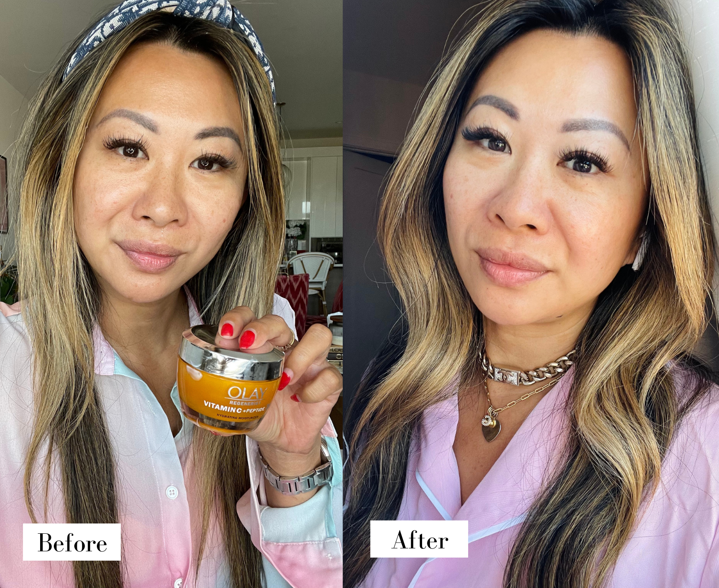 Olay Vitamin C Moisturizer Before and After, Olay vitamin C moisturizer, vitamin c moisturizer, skincare routine, beauty routine, beauty photography, skincare photography, skincare aesthetic, serum photography ideas, Red Soles and Red Wine, Jennifer Worman