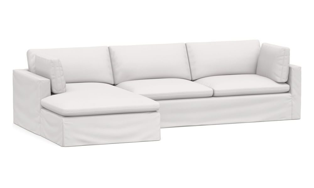 Pottery Barn Bolinas Slipcovered Right Arm Sofa with Chaise Sectional, Down Blend Wrapped Cushions, Twill White, Dupes for the Restoration Hardware cloud couch, RH cloud couch dupes, affordable versions of the Restoration Hardware cloud couch, modular sofa dupes, restoration hardware cloud sofa, CLOUD MODULAR SOFA CHAISE SECTIONAL, restoration hardware dupes, affordable sectional sofas, Red Soles and Red Wine, Jennifer Worman