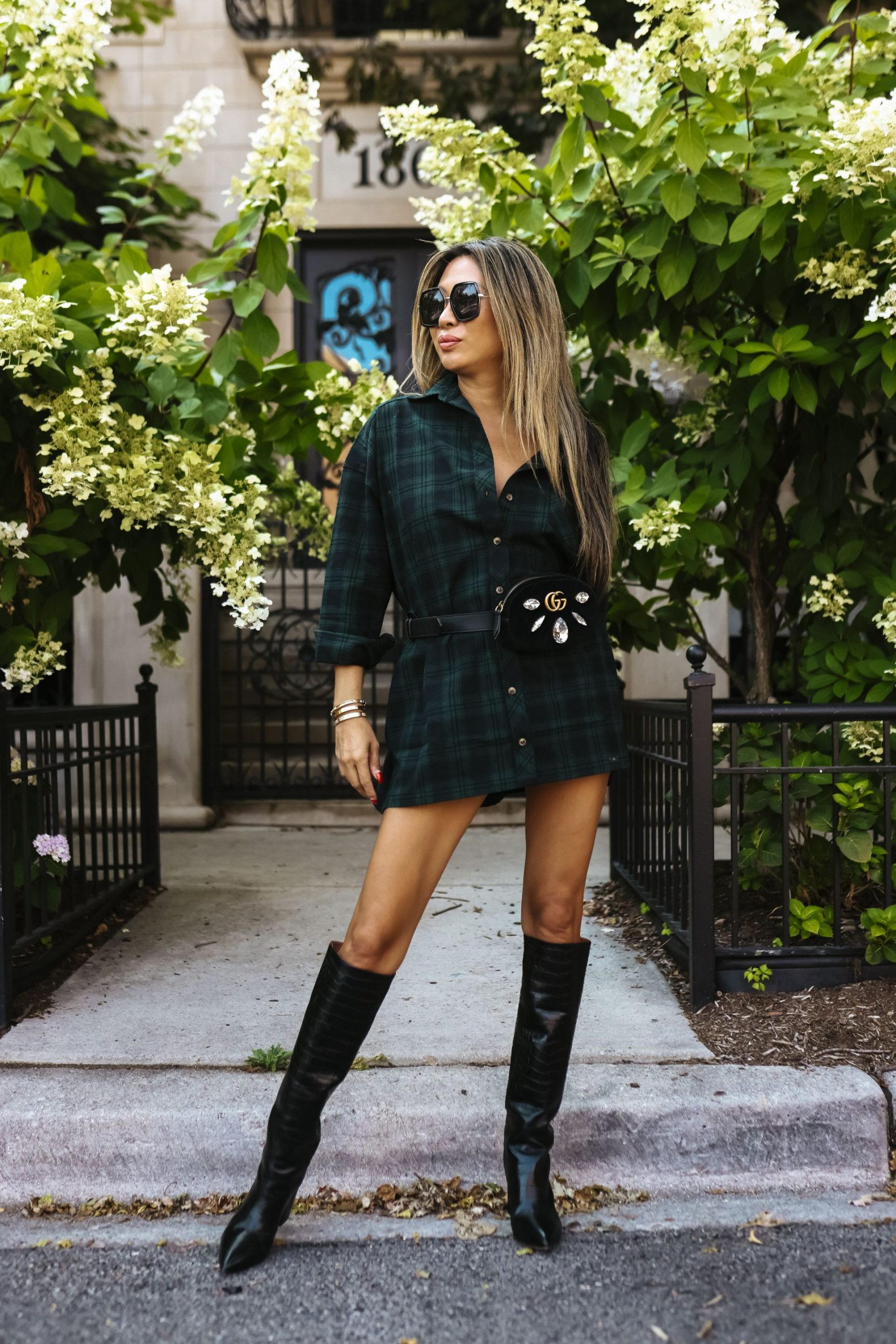 superdown Audriana Oversized Flannel Top, Schutz Maryana Pointed Toe Boot, flannel shirt dress, flannel shirt outfit idea, flannel shirt outfit, flannel shacket, shacket outfit, shacket inspiration, shirt dress and boots, gucci fanny pack, gucci belt bag, Revolve fall outfits, fall outfit ideas, fall outfit inspiration, fall style, fall street style, style photography, fashion photography ideas, street style photo ideas, street style inspiration, Red Soles and Red Wine, Jennifer Worman