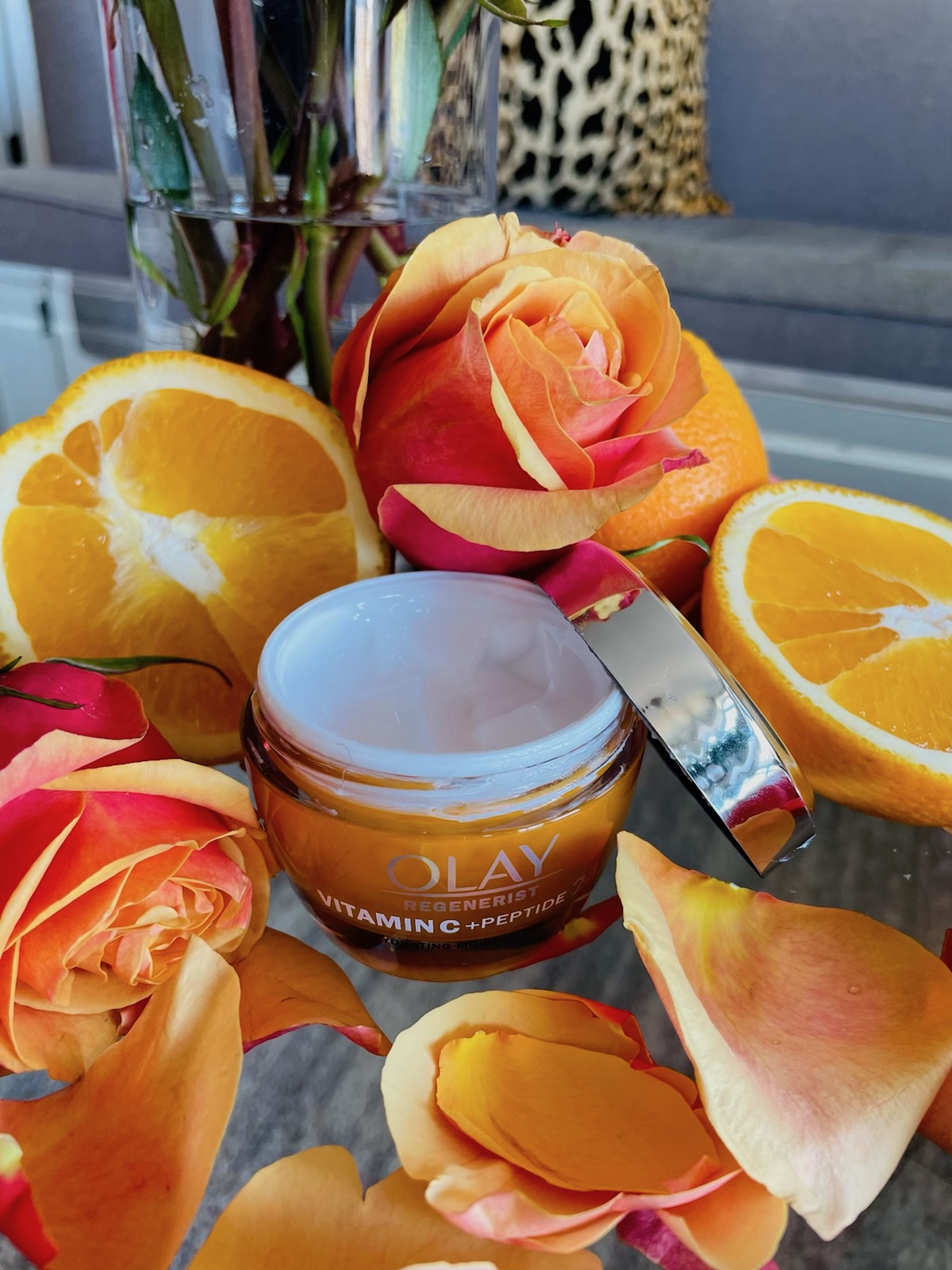 Olay vitamin C moisturizer, vitamin c moisturizer, skincare routine, beauty routine, beauty photography, skincare photography, skincare aesthetic, serum photography ideas, Red Soles and Red Wine, Jennifer Worman