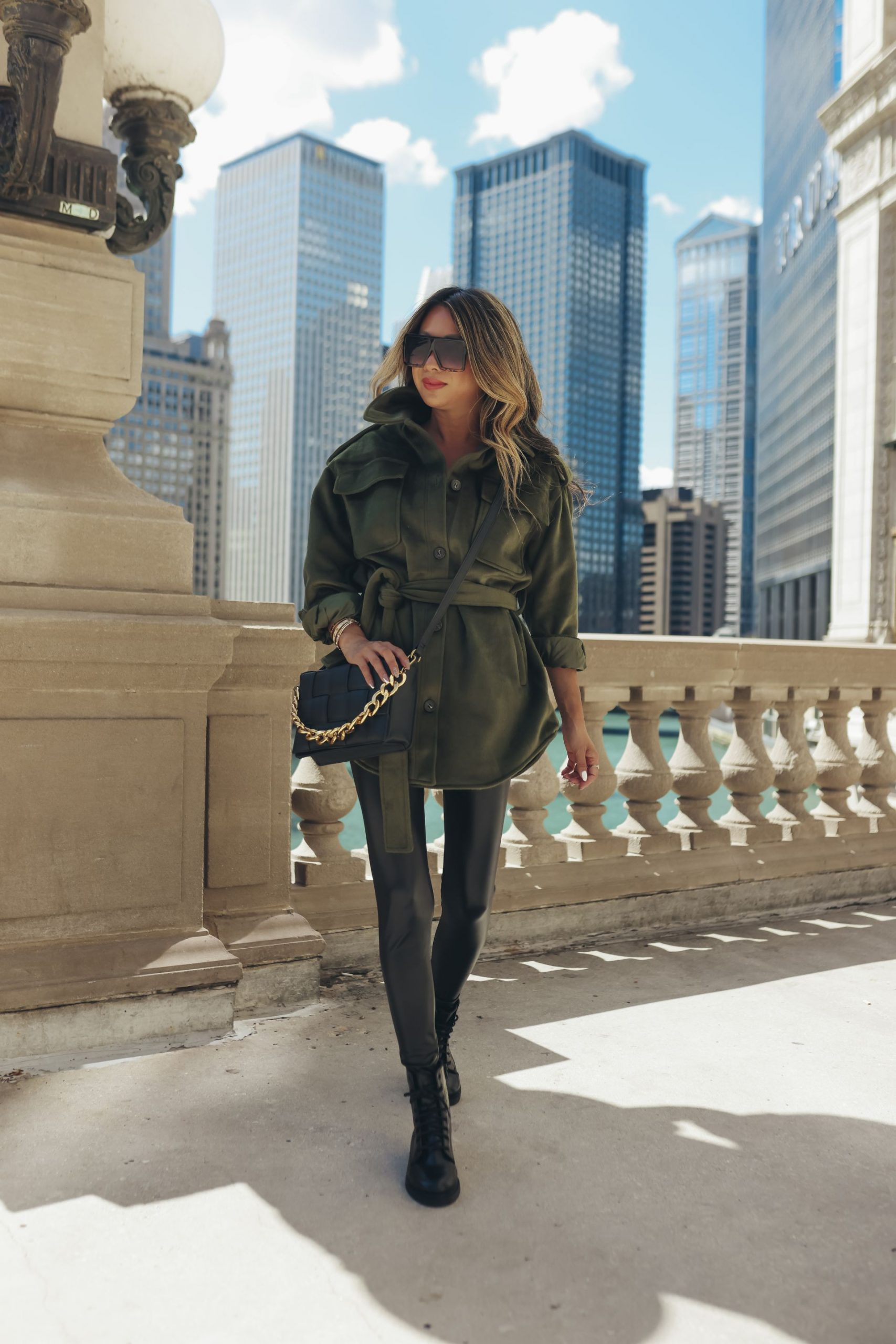 Fall Fashion under $50 from Walmart, Fall Fashion under $50 from Walmart, fall outfit inspiration, fall outfit ideas, affordable fall fashion, affordable fall outfits, affordable fall style, fall outfit inspo, fall women's outfits, cold weather style, green shacket, shacket outfit ideas, olive greenshacket outfit, oversized shacket outfit,faux vegan leather leggings outfit,faux vegan leather leggings style,Red Soles and Red Wine, jennifer Worman, fall outfit photography, style photography ideas, fall style aesthetic