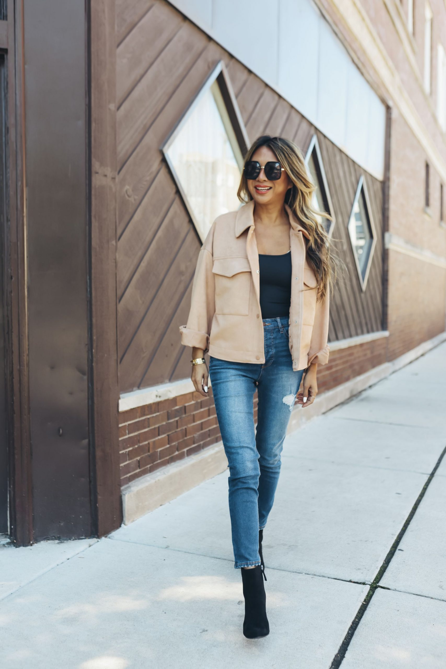 Fall Fashion under $50 from Walmart, Fall Fashion under $50 from Walmart, fall outfit inspiration, fall outfit ideas, affordable fall fashion, affordable fall outfits, affordable fall style, fall outfit inspo, fall women's outfits, cold weather style, neutral shacket, shacket outfit ideas, camel shacket outfit, camel shirt outfit, suede shacket outfit, Red Soles and Red Wine, jennifer Worman, fall outfit photography, style photography ideas, fall style aesthetic