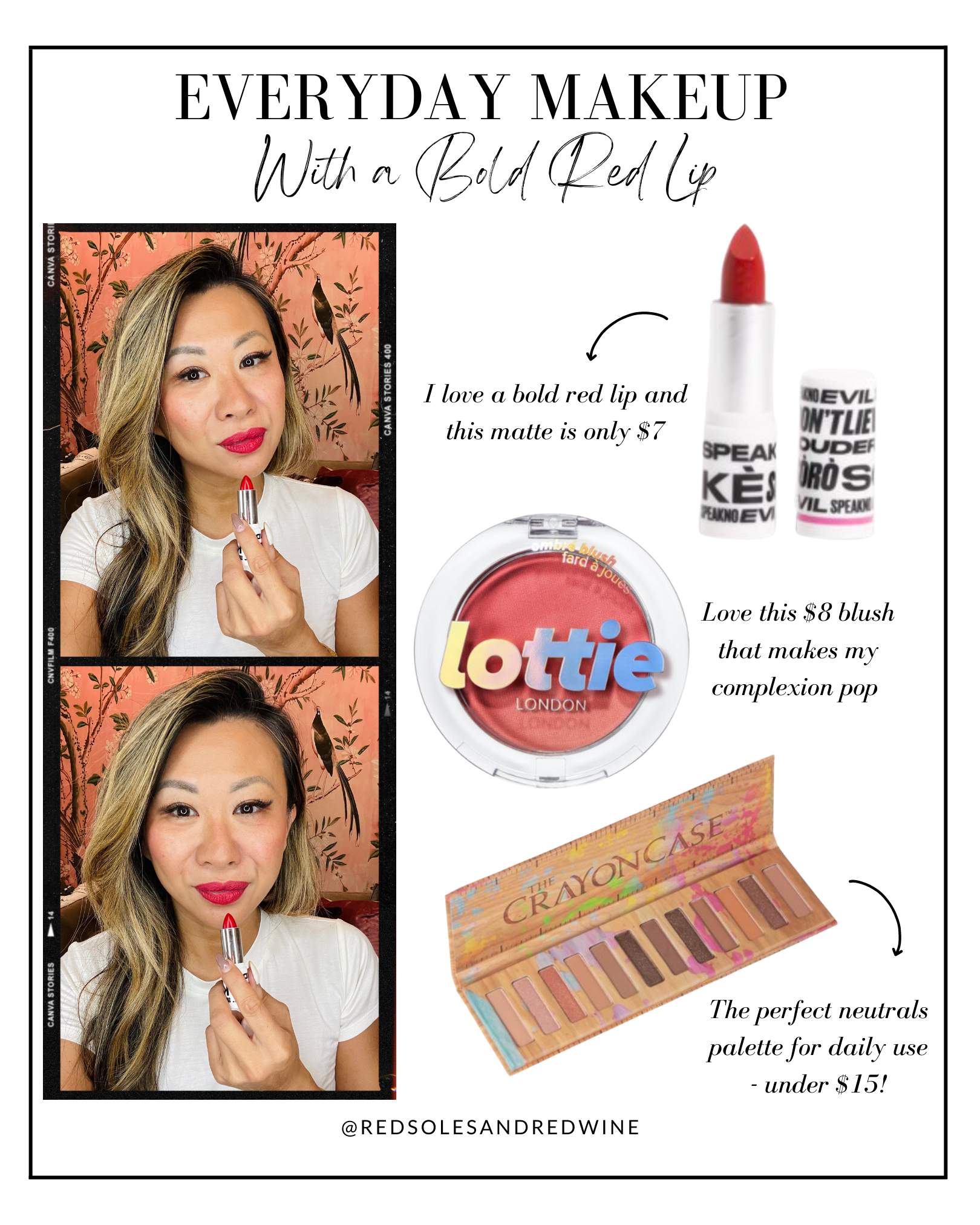 everyday makeup up with a bold red lip, everyday makeup, red lip makeup ideas, affordable makeup, walmart beauty, beauty routine