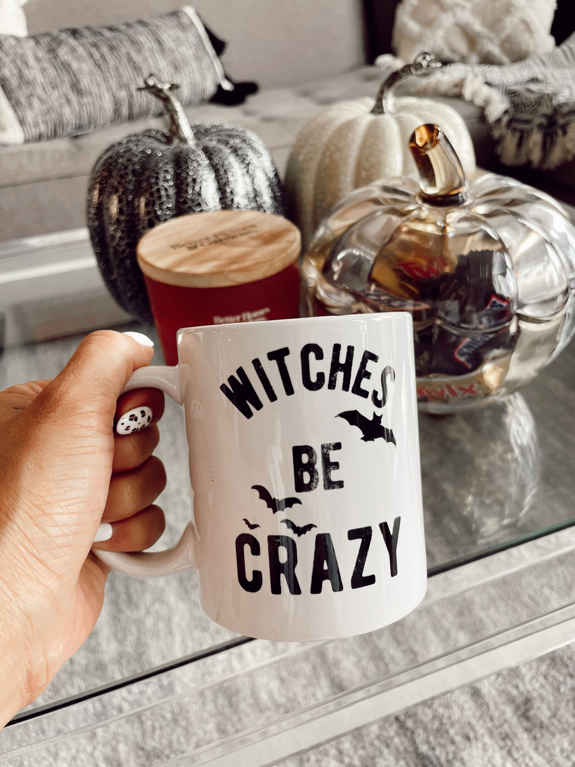 witches be crazy mug, halloween mug, fall home decor, subtle Subtle Touches of Fall to your Home, home decor inspiration, fall home inspiration, black and white fall decor, glam fall decor, neutralfall decor, pretty pumpkindecor, fall decor ideas, pretty fall decor, Red Soles and Red Wine, Jennifer Worman