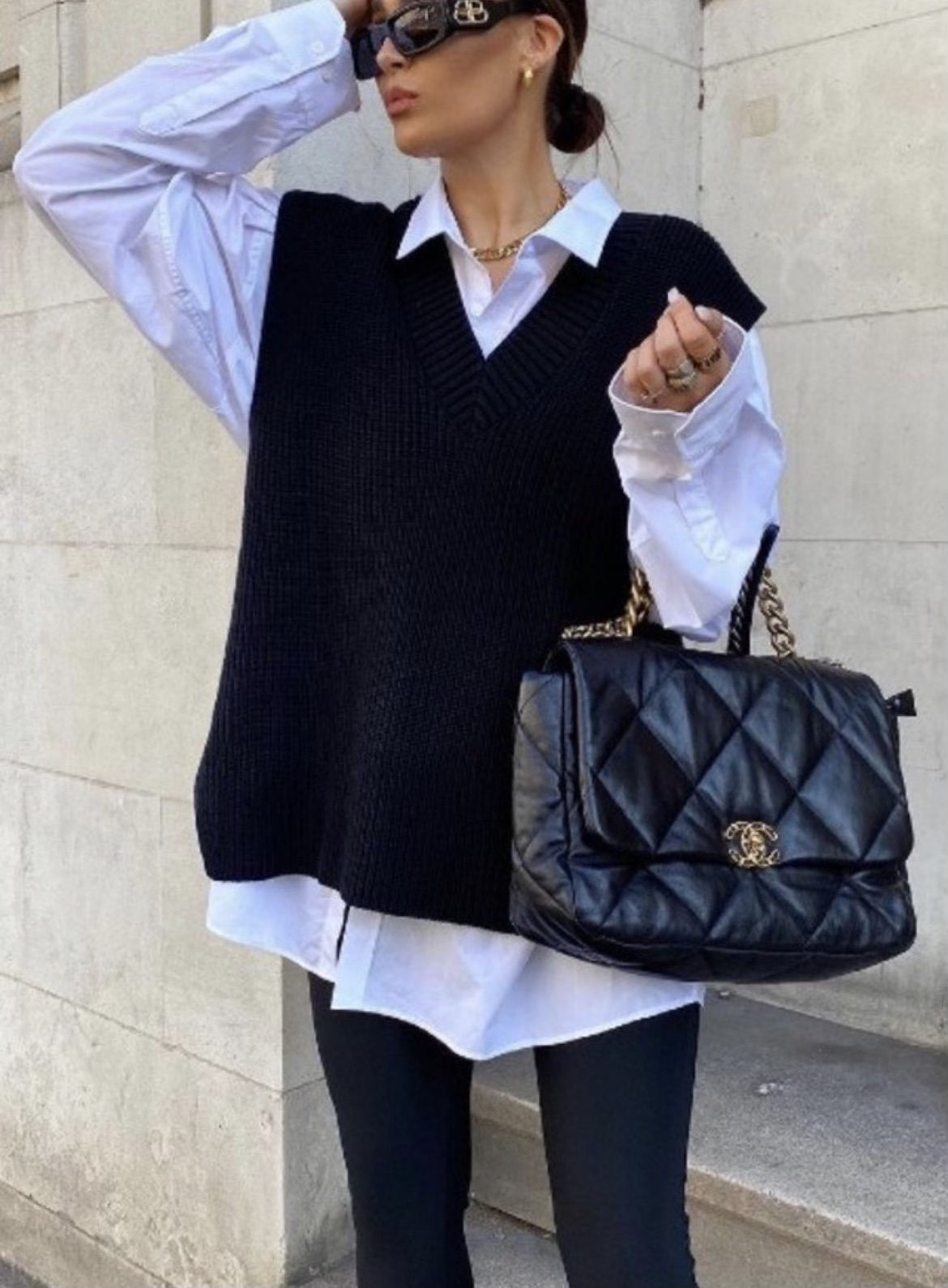 how to style a sweater vest, sweater vest inspiration, sweater vest outfit, sweater vest ideas, sweater vest outfit ideas, street style sweater vest outfit, neutral sweater vest, outfit ideas, fall outfit ideas, fall 2021 outfits, fall 2021 trends
