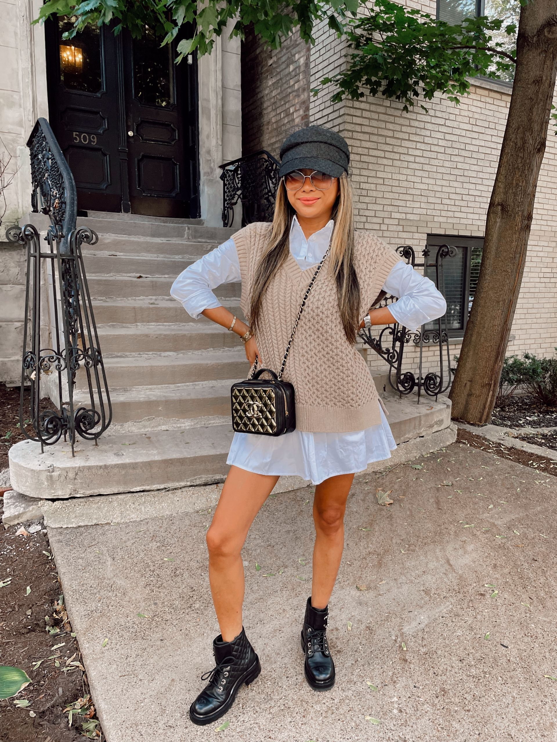 sweater vest and shirt dress, how to style a sweater vest, sweater vest inspiration, sweater vest outfit, sweater vest ideas, sweater vest outfit ideas, street style sweater vest outfit, neutral sweater vest, outfitideas, fall outfit ideas, fall 2021 outfits, fall 2021 trends, fashion blogger, style blogger, fashion photography, outfitphoto ideas, outfit photography ideas, Red Soles and Red Wine, Jen Worman